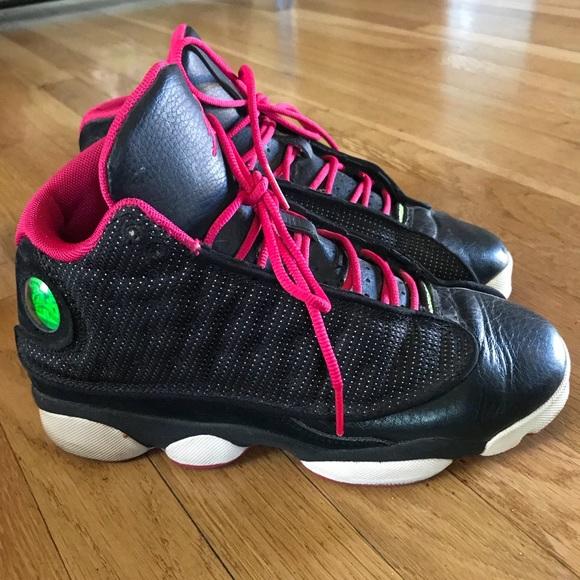 new product e6fa4 dc9ed Womens Air Jordan 13 Retro Black Flash Pink White